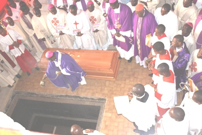 Mgr. Cornelius Esua blesses Fr. Paul final resting place inside the Mankon Cathedral