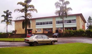 Front view of the main building of Sacred Heart College Mankon