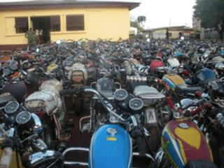 Bertoua Central Police Station looks like a motorcycle show
