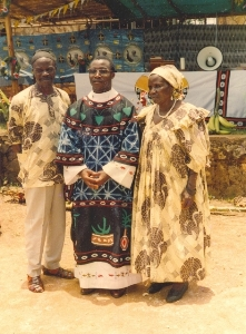 Late Pa Joseph Nfon, newly appointed Bishop, and Mama Odilia Kininla during first Mass, Njottin