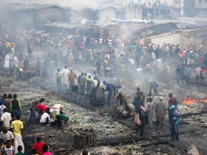 Charred remains of Congo Market
