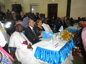 L to R the Arch Bishop of B,da, the Isreali Ambassador and Wife and the Auxiliary Bishop of B,da 1