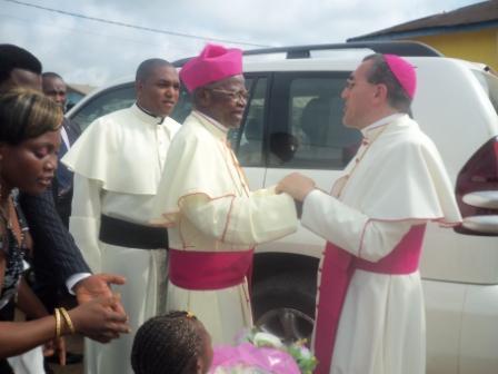 Bishop Francis T. Lysinge welcomes the Nuncio