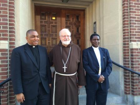 From L to R, Fr. Maurice Agbaw Ebai, Cardinal O'Malley and Bishop Nkea